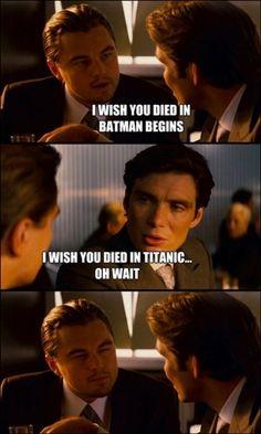 Leonardo DiCaprio and Cillian Murphy (Inception/Titanic/Batman Begins)