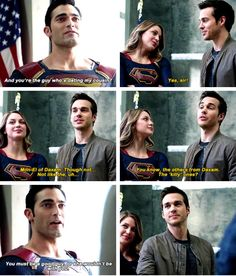 I'm not crying in the corner of my room.<<< I freaking love Melissa, Chris, and Tyler so much Supergirl Superman, Supergirl And Flash, Melissa Supergirl, Kara And Mon El, Superhero Shows, Cw Dc, Dc Tv Shows, Chris Wood, Dc Legends Of Tomorrow