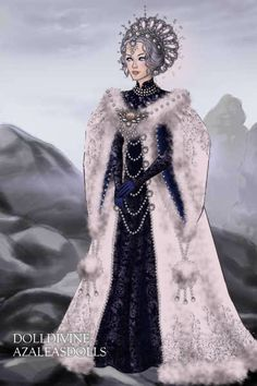 Snow Queen gazing at winter ~ by Inanna ~ created using the LotR Hobbit doll maker | DollDivine.com