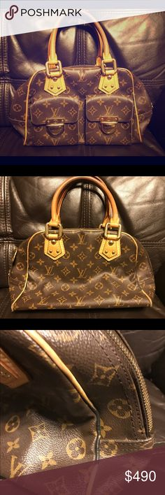 Authentic LV Manhattan PM bag. This bag is in great condition. It does have a pen mark on the lining as shown.  I am discounting this because of that and I never use this great bag. Louis Vuitton Bags Mini Bags