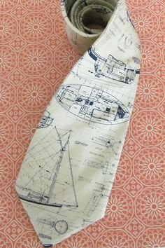 Necktie Mens Tie - Creamy Yellow Sailboat Blueprint Silk Necktie. $19.95, via Etsy.