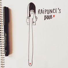 Raiponce's boob #drawing #illustrator #illustration #artwork #doodle #raiponce #fairytale #castle #waitingforprince #deliverme #tower by cecile.dormeau