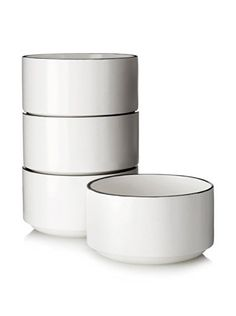 www.myhabit.com  Featuring a painted rim, this set of two-tone stackable bowls will add style to your table; microwave safe