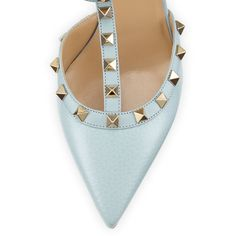 Valentino Rockstud Leather Mid-Heel Pump, Sorbet (€1.020) ❤ liked on Polyvore featuring shoes and pumps