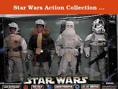 """Star Wars Action Collection 12"""" Luke Skywalker in Hoth Gear, Han Solo in Hoth Gear, Snowtrooper, AT-AT Driver Figure Set. Star War Action Collection Empire Strike Back 12"""" Hoth Figures 4 Pack."""
