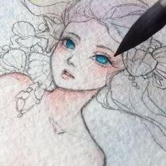 Watercolor Artist Margaret Morales - D r a w i n g s - Watercolor Drawing, Watercolor Artists, Painting & Drawing, Watercolor Paintings, Girl Drawing Sketches, Cute Drawings, 8bit Art, Art Plastique, Art Tutorials