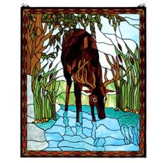 Deer in the River Stained Glass Window
