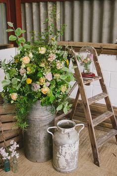 Milk Churn Ladder Flowers Industrial Eco Bloom Wedding Ideas http://www.mywildrose.co.uk/