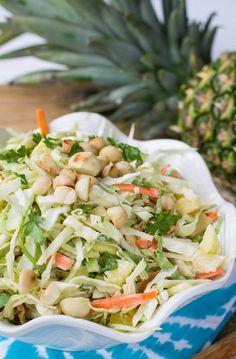 Pineapple Macadamia Slaw with Coconut - gluten free salads, healthy salad recipe Wine Recipes, Salad Recipes, Cooking Recipes, Healthy Salads, Healthy Eating, Healthy Recipes, Salad Bar, Soup And Salad, Coleslaw Salad