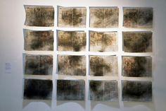 Almyra Weigel. Sewing threads on the newspaper. www.almyraweigel.de