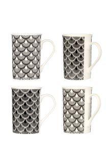 4 mugs en porcelaine27 cl