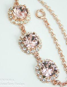 Blush pink crystal bracelet | Blush wedding | Matching earrings also available | www.endorajewellery.etsy.com