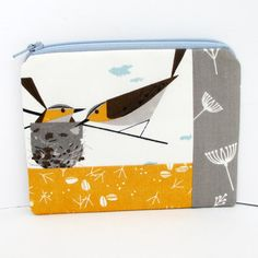 Small Zippered Pouch Charley Harper Birds in Nest by OceanPatch