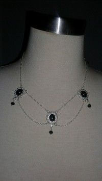 Silver plated 18 in hand crafted onyx necklace. One of its kind. Beautiful for special occasions or