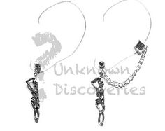 Skeleton Chain, Cuff and Cartilage earrings - Halloween Earrings