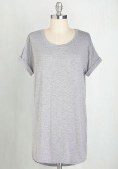 Simplicity on a Saturday Tunic in Grey. Whoever said jeans and a tee couldnt look completely cute has clearly never encountered a gal wearing this grey T-shirt! #grey #modcloth