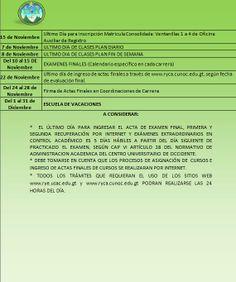 Calndario Académico del Segundo Semestre de 2014.