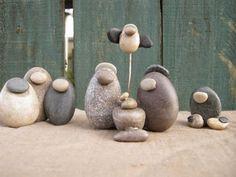 Presépios criativos - presépio de pedras.