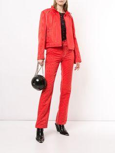 Marine Serre جاكيت جينز كلاسيكي Farfetch In 2020 Fashion Pantsuit Style