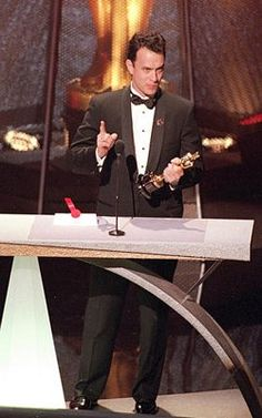 """Tom Hanks accepting the Oscar for Lead Actor in Philadelphia (1994) """"...the streets of Heaven are too crowded with angels.They finally rest in the warm embrace of the gracious Creator of us all - a healing embrace that cools their fevers, that clears their skin, and allows their eyes to see the simple, self-evident, common-sense truth that is made manifest by the benevolent creator of us all and was written down on paper by wise men, tolerant men, in the city of Philadelphia 200 years ago."""""""