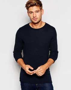 """Jumper by Selected Homme Knitted fabric Ribbed texture Crew neck Longline cut Cut longer than standard length Machine wash 100% Cotton Our model wears a size Medium and is 183cm/6'0"""" tall"""
