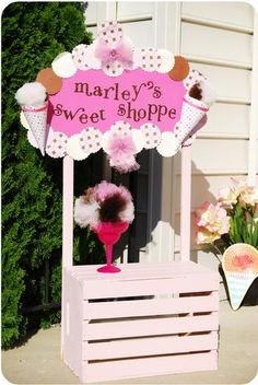 Great use of a crate...would be cute as lemonade stand too