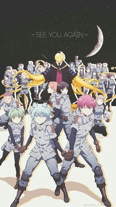 See you again, text, moon, Assassination Classroom characters, Class E, End Class, uniforms, outfits, Korosensei, moon; Assassination Classroom