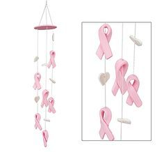 Handmade Ceramic Pink Ribbon Chime at The Breast Cancer Site
