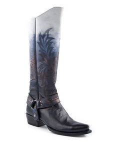Look at this #zulilyfind! Stetson Black Two-Tone Vamp Harness Cowboy Boot - Women by Stetson #zulilyfinds