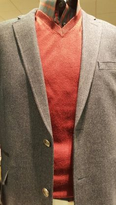 Red V-Neck Merino Wool Sweater, Joseph Abboud, Pronto Uomo $44.99