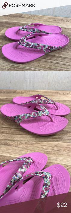 1d82c3e3bc7 Crocs flip flop pink floral Shoes Womens Size 7 Crocs flip flop pink floral Shoes  Womens
