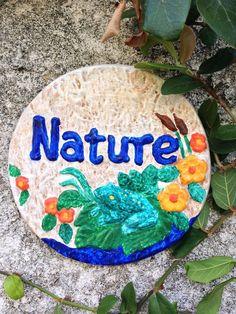 Handcrafted wall plaque/frog/nature/flowers/indoor/outdoors/hanging/garden decor #Handcrafted