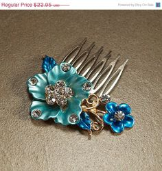 SALE, Blue Crystal Hair Comb, Something Blue, Hair Flower, Bridal Hairpiece, Bridal Hair Comb, Wedding Hair Accessories - Ready to Ship