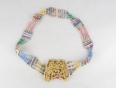 Elaborate head-ornament of coloured glass beads threaded onto vegetable fibre string. Made by Xhosa (? Crochet Necklace, Beaded Necklace, Xhosa, British Museum, African Art, Colored Glass, Glass Beads, Ornaments, Detail