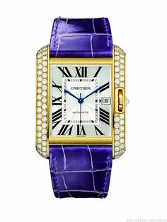 Cartier watches for men and women: watch collections on the Cartier Official Website Cartier Jewelry, Pink Jewelry, Jewelry Watches, Cartier Watches, Men's Jewelry, Silver Jewellery, Cartier Tank Anglaise, Tank Watch, Purple Band