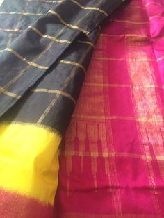 A5- Black Pink Yellow Zari Checks Ikat silk saree by NainaSilksIndia on Etsy https://www.etsy.com/listing/231893925/a5-black-pink-yellow-zari-checks-ikat