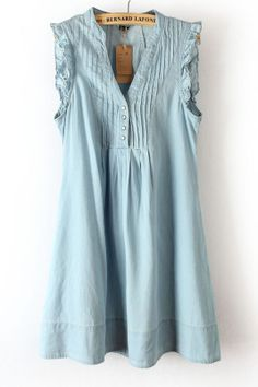 Blue V-neck Pleat Chest Dress.