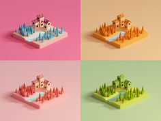 Color study designed by Mohamed Chahin. the global community for designers and creative professionals. Low Poly, 3d Design, Game Design, Minimal Graphic Design, Indian Illustration, Minecraft, Isometric Art, 3d Artwork, Game Concept