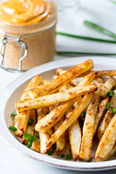 Easy to make crispy baked french fries with chipotle ranch dip that's Paleo and Whole30 compliant! Fun and healthy side dish, appetizer or snack.