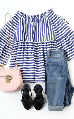 Blue Mixed Stripe Off The Shoulder Top