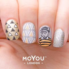 """""""Puppies, pepperoni pizza, and lots of triangles! All our favourite things combine! ⋆ Hipster Plate #12 & #14 ⋆ Stamping Nail Polishes: ⋆ Black Knight ⋆…"""""""