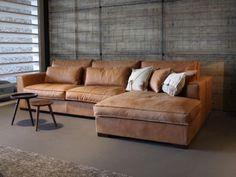 Image result for cognac lederen sofa met chaise longue