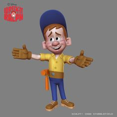 """From Chad Stubblefield: """"Early Felix design sculpt. Based more off Jack McBrayer."""" Note that this is the design used on the Fix-it Felix arcade cabinet."""