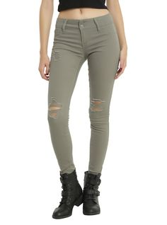 Olive Destructed Skinny Jeans | Hot Topic