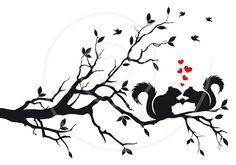 Hochzeit Einladung Eichhörnchen auf Baum verliebt von Illustree