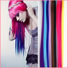 Fashion hair extension for women Long Synthetic Clip In Extensions Straight Hairpiece Party Highlights Punk hair