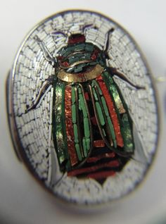 Italian Micro Mosaic button, antique