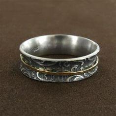 Sterling Silver & 14K Gold Paisley Spin Ring by David Tishbi