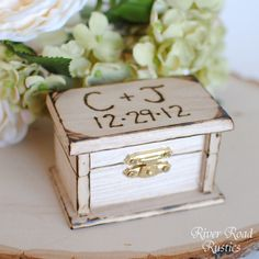 Petite Rustic Wedding Ring Box Keepsake or Ring Bearer Box- Personalized Comes WIth Burlap Pillow. $19.95, via Etsy.