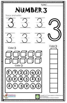 Here is number 3 worksheet for kindergarten and preschool. With this worksheet kids will practice Kindergarten Addition Worksheets, Printable Preschool Worksheets, Numbers Kindergarten, Numbers Preschool, Tracing Worksheets, Worksheets For Kids, Kindergarten Reading, Counting Worksheet, Maze Worksheet